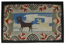 Deer Hooked Rug, c 1930