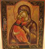 Mother of God of Vladimir Russian Icon 18th C