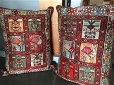 Pair of Handmade Persian Soumak Pillows 37x28x7