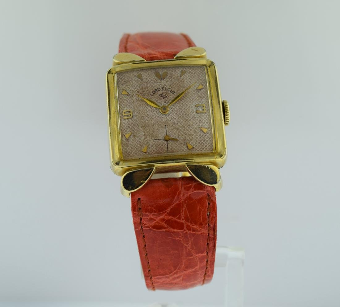 Lord Elgin Deco Waffle Dial 14K Gold Filled Watch, 1940