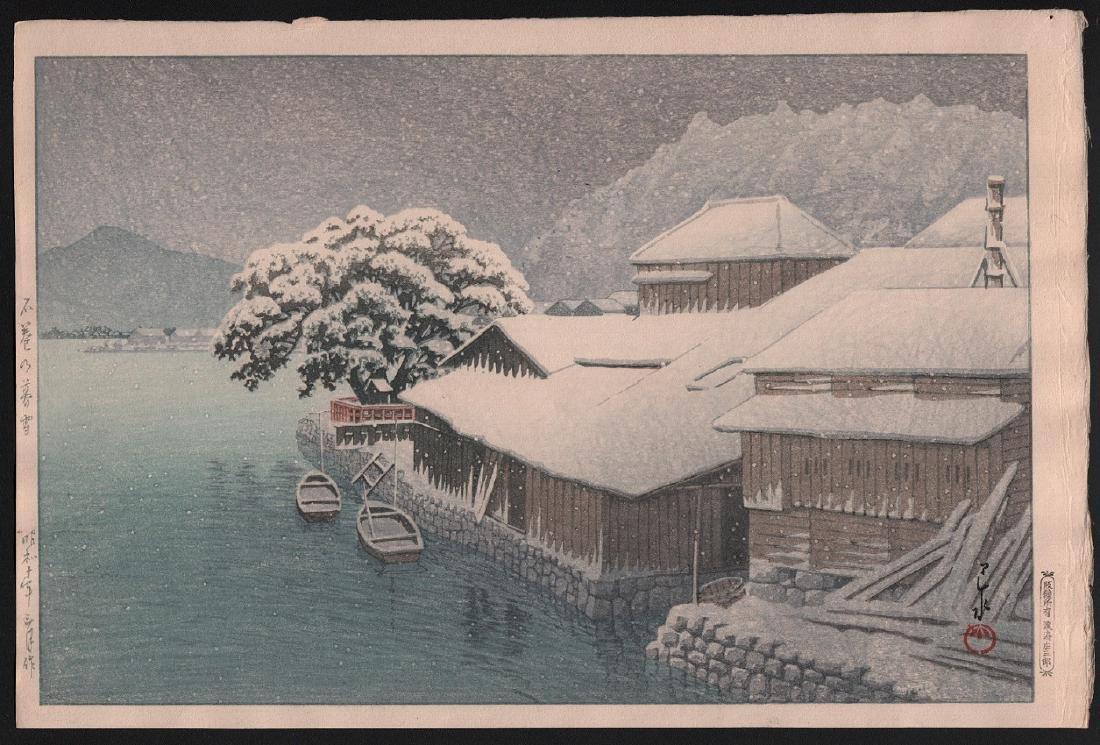 Hasui Kawase: Evening Snow at Ishonomaki