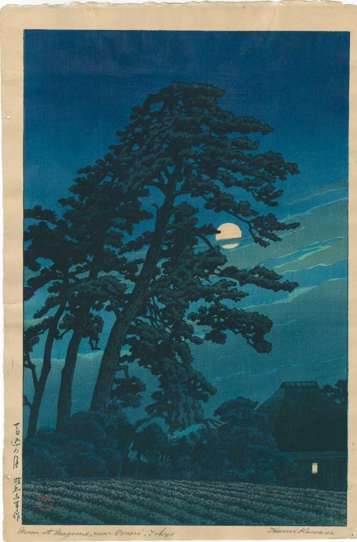 Hasui Kawase: Full Moon at Megome