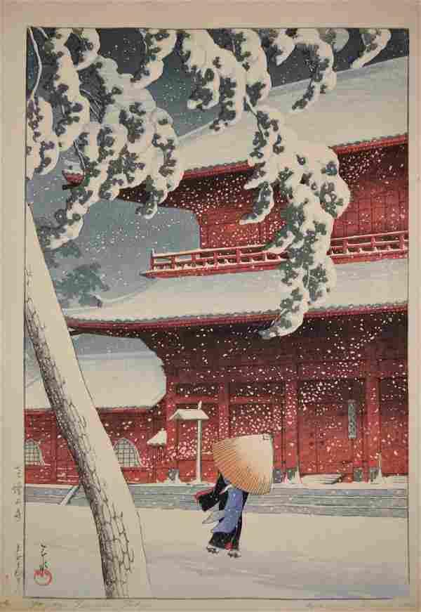 Hasui Kawase: Shiba Zojo Temple in Snow
