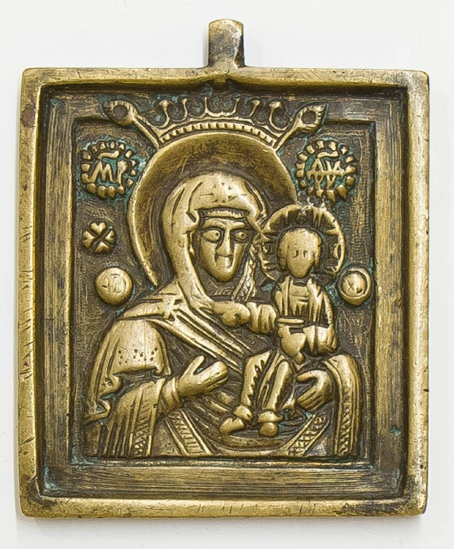 Mother of God Russian Bronze Icon, 19th C