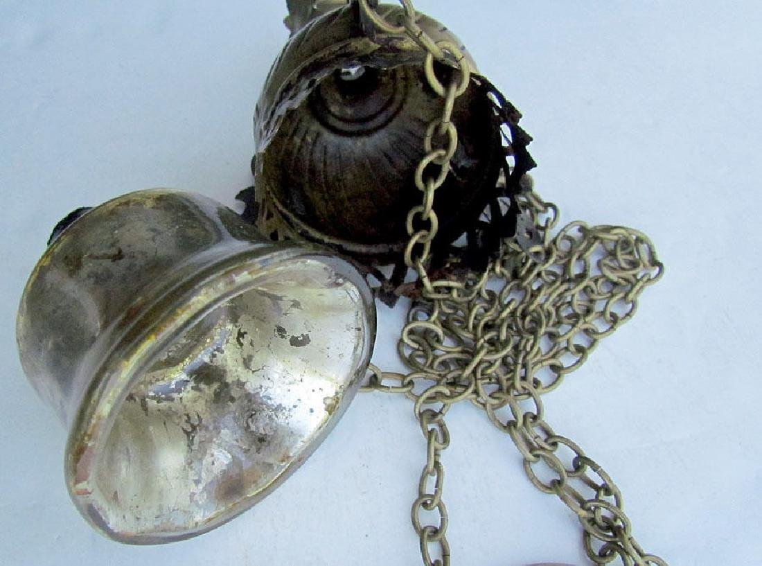 Antique Russian Brass Icon Lamp & Glass Insert, 19th C - 2