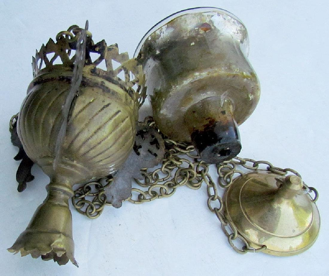 Antique Russian Brass Icon Lamp & Glass Insert, 19th C - 3
