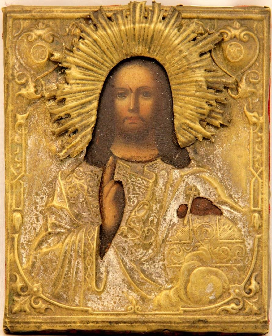 Christ the Almighty Metal Oklad Russian Icon, 19th C
