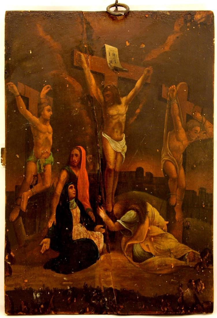 Crusifixion, Balkans Russian Large Oil Icon, 19th C