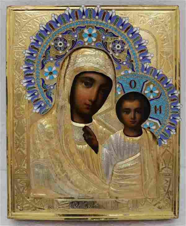 Virgin Kazan Silver Enamel Oklad Russian Icon 19th C