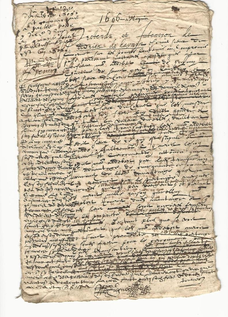 1606 French Manuscript Reign of Henry IV