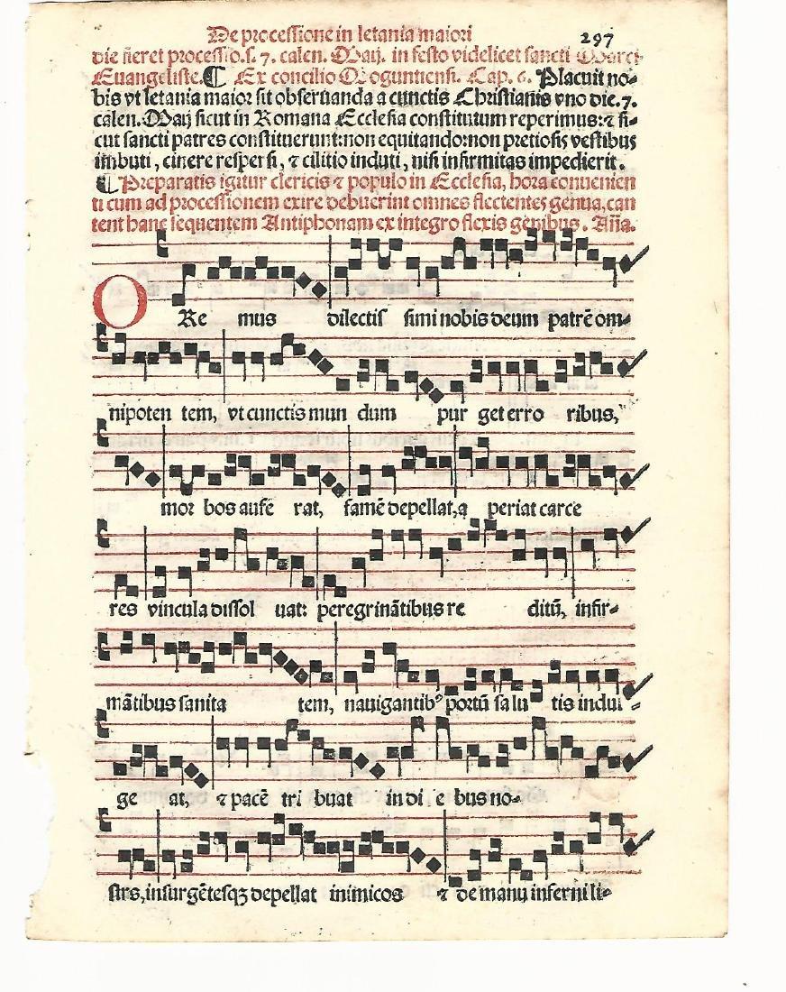 1567 Catholic Hymnal Leaf Red & Black Music