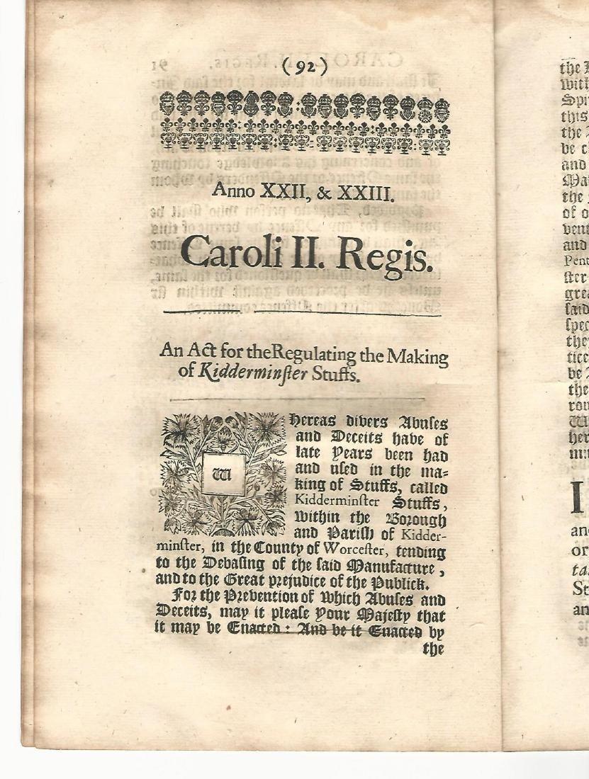 English Acts Arson Kidderminster, 1671 - 3