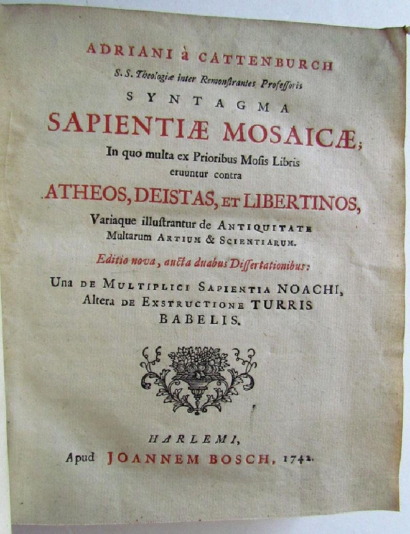 Sapientia Mosaica, 1742