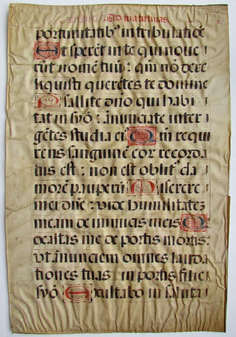16th Century Hand Written Vellum Leaf