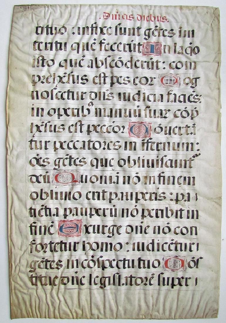16th Century Hand Written Vellum Leaf - 2