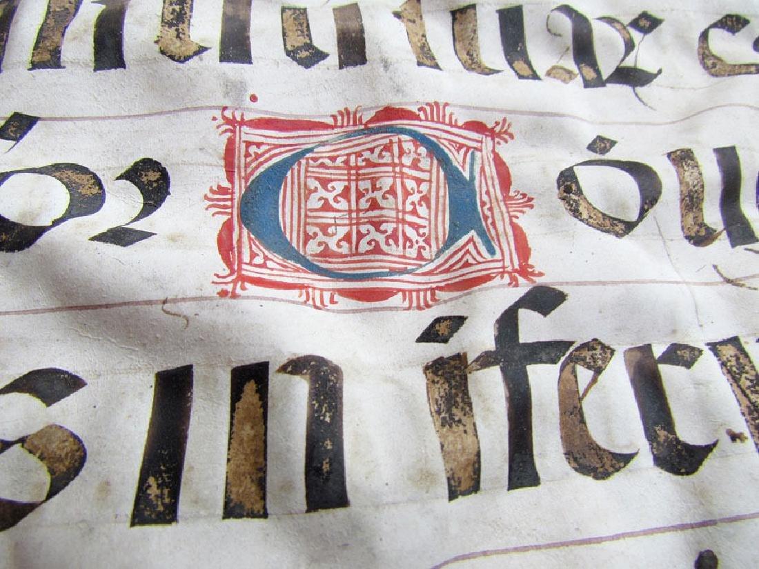 16th Century Hand Written Vellum Leaf - 5