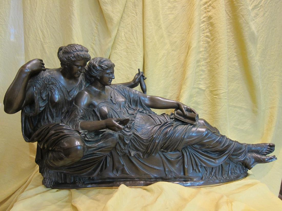 Group of 2 Goddesses Neoclassical Style Sculpture, 1875