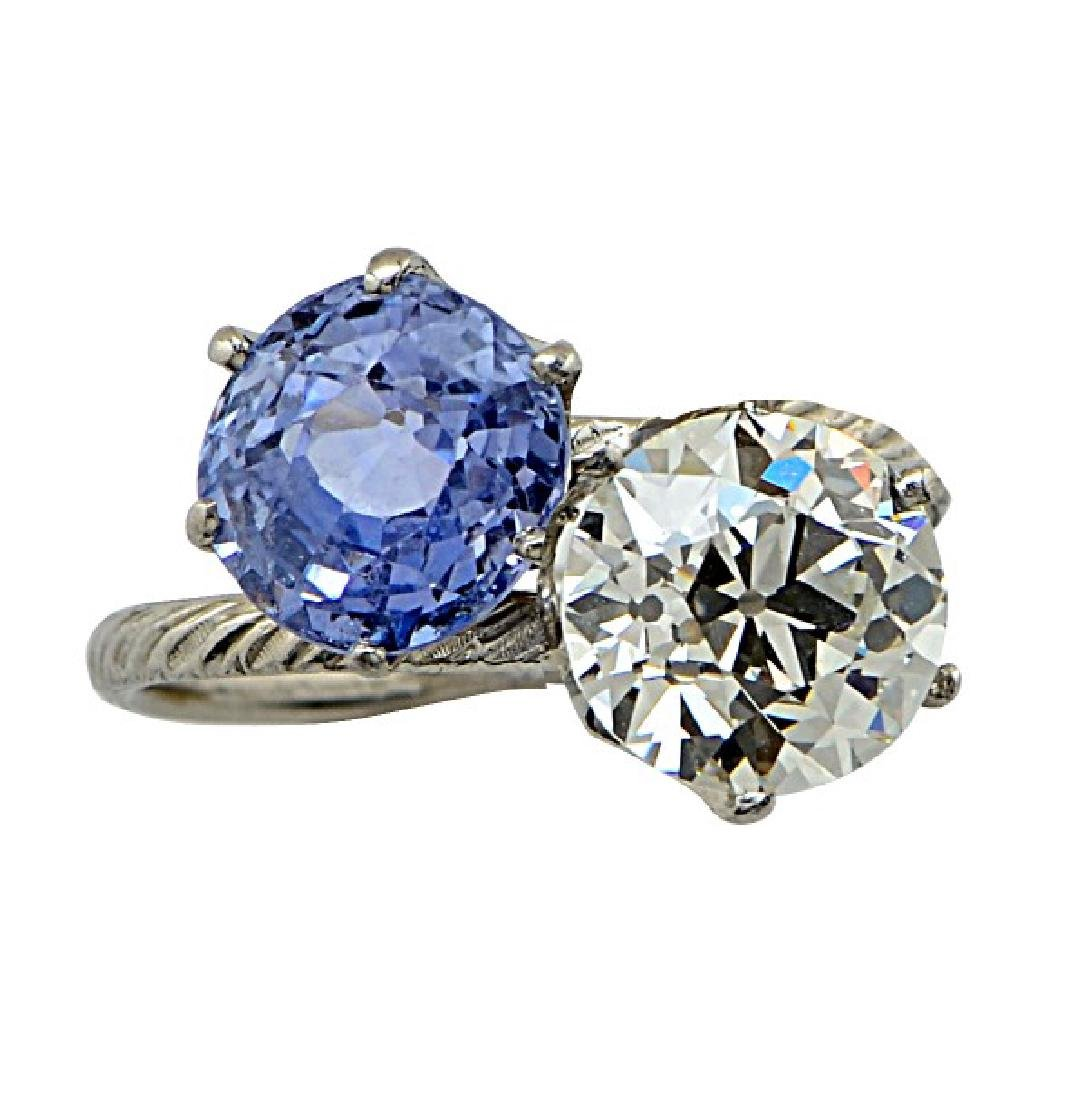 Tiffany & Co. Platinum Diamond Sapphire Bypass Ring
