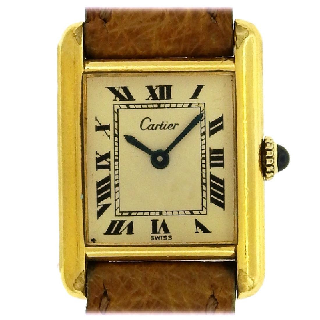 Vermeil Cartier Ivory Dial Tank Watch