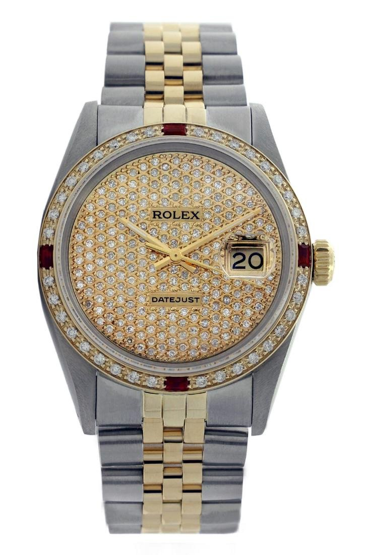 Rolex Two Tone 14K QuickSet Diamond Pave Ruby Watch