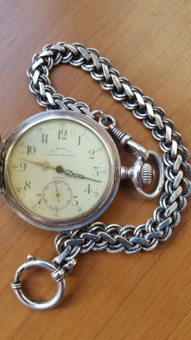 Antique Zenith Grand Prix Silver Pocket Watch