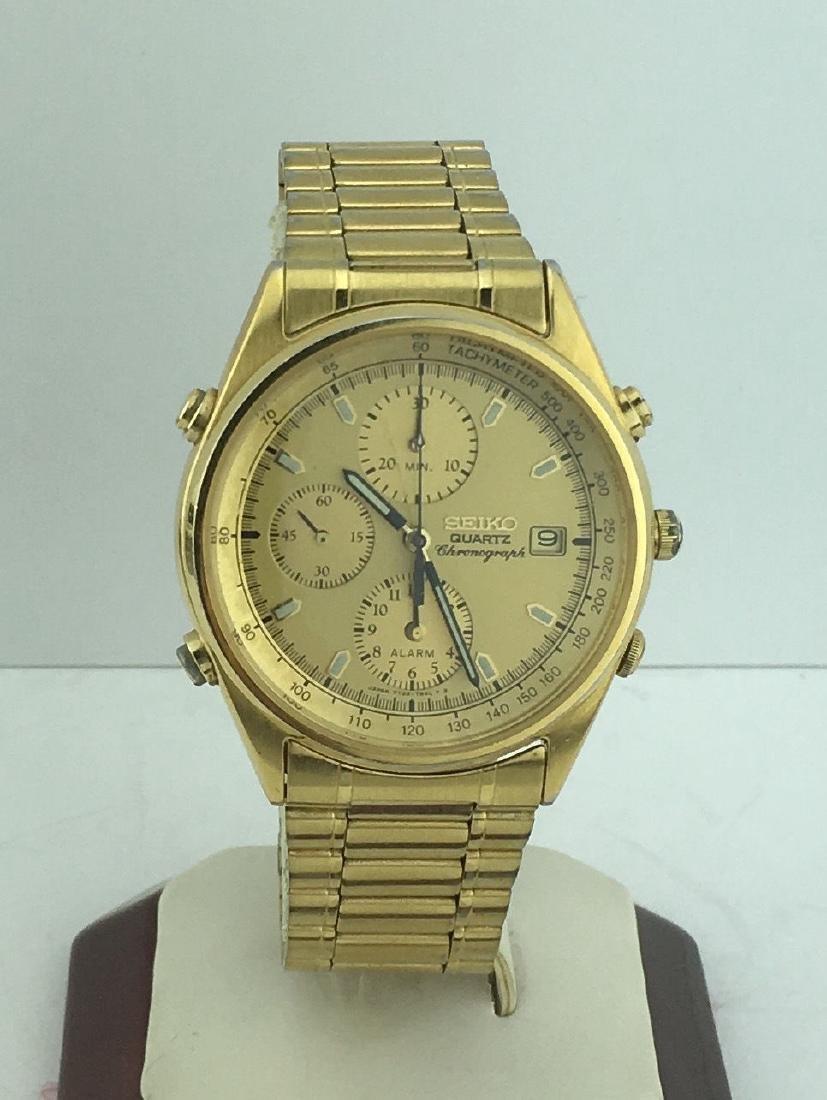 Gold Tone Seiko Chronograph Alarm Watch