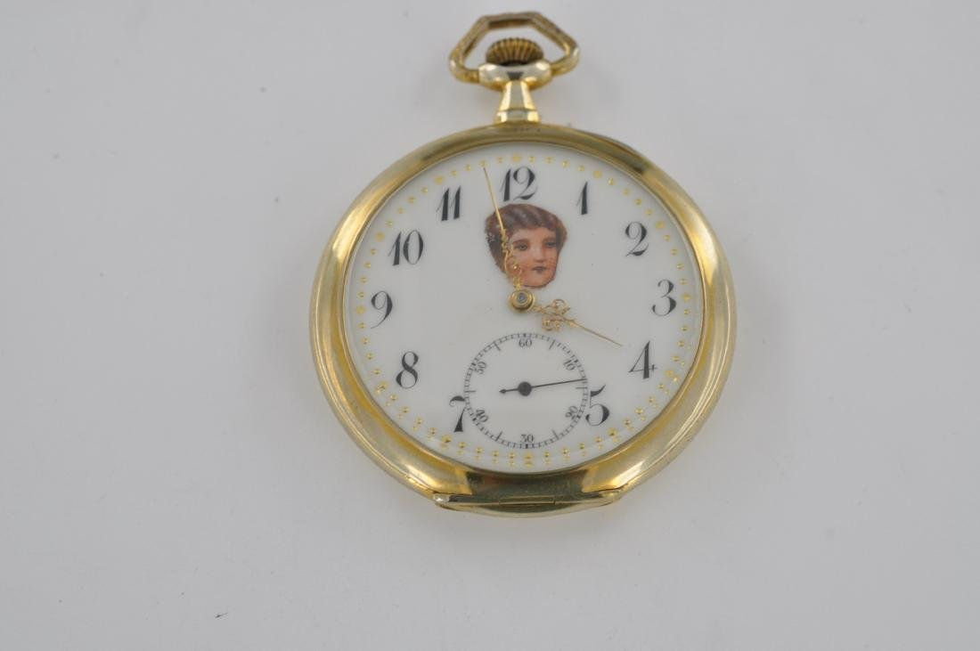 Eterna Angel Face Silver Open Face Pocket Watch, 1920's