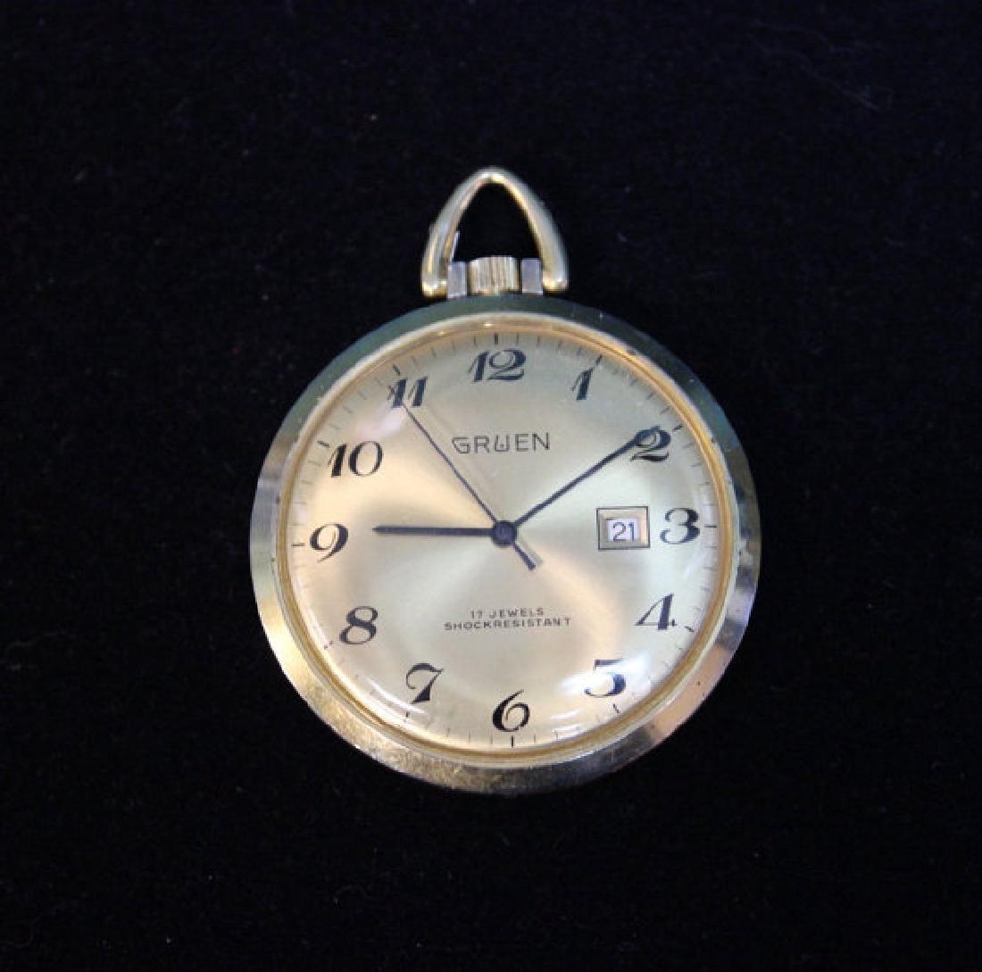 Gruen Textured Back Pocket Watch, 1960s