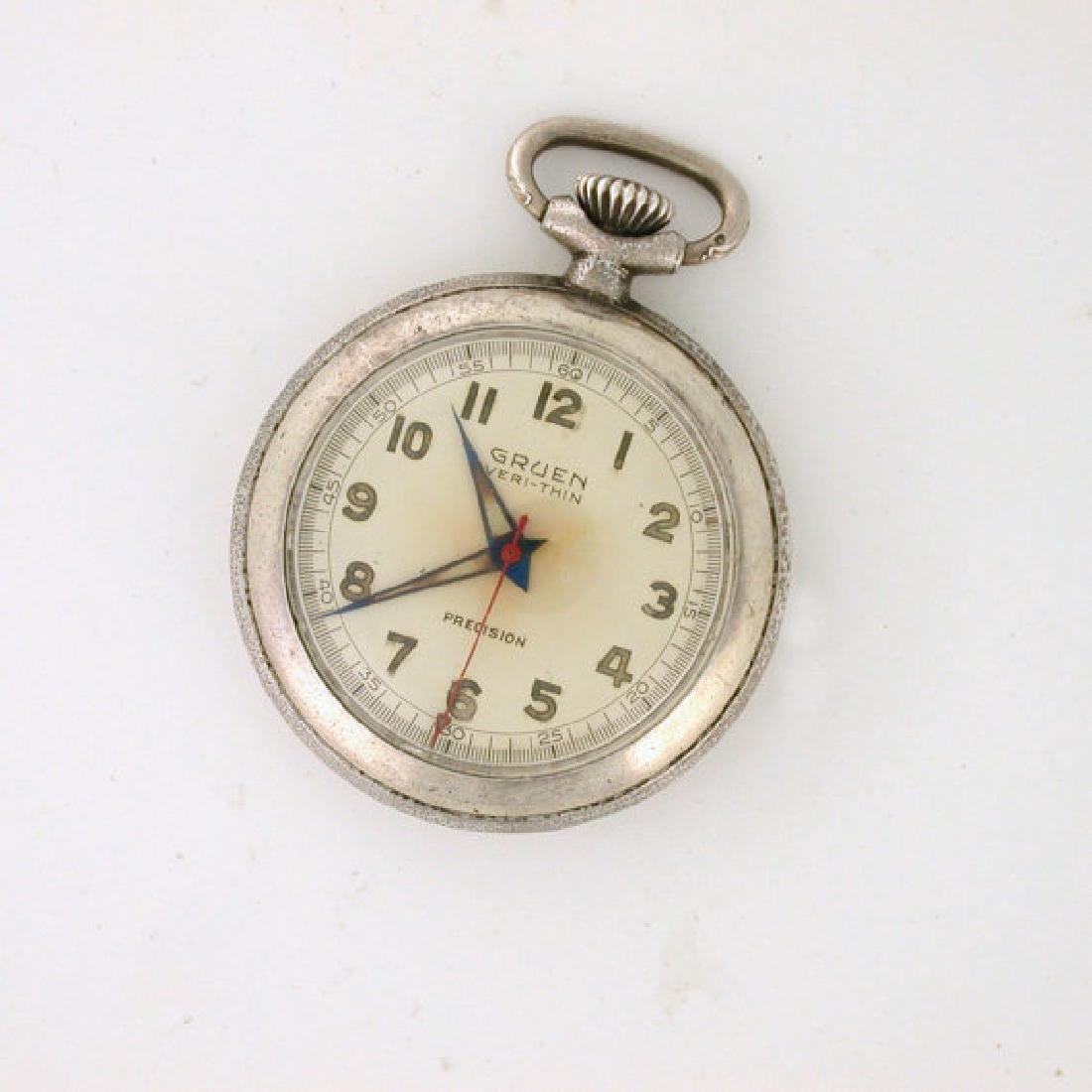 Gruen Precision Sterling Silver Rare Pocket Watch, 1951