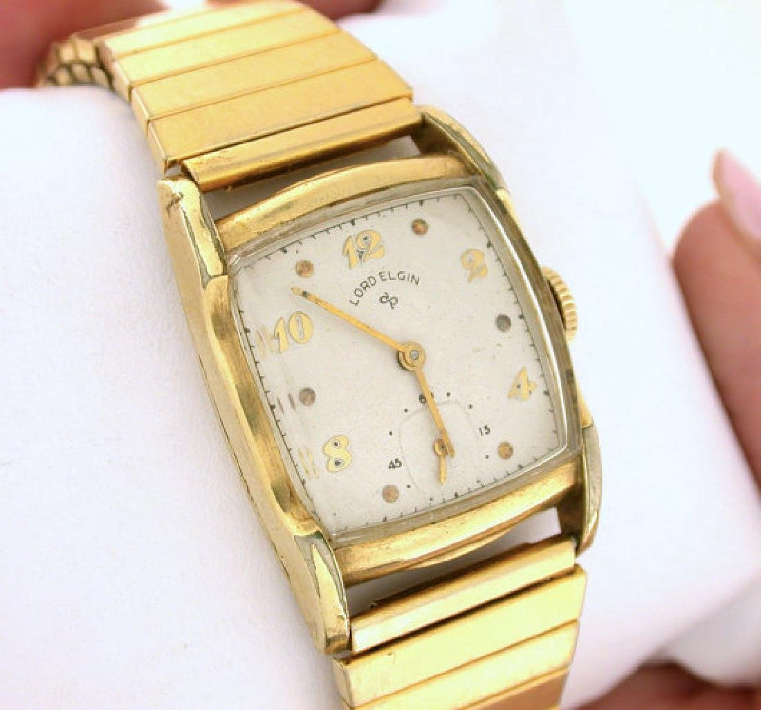 Lord Elgin 14K Gold Gilled Wrist Watch, 1954