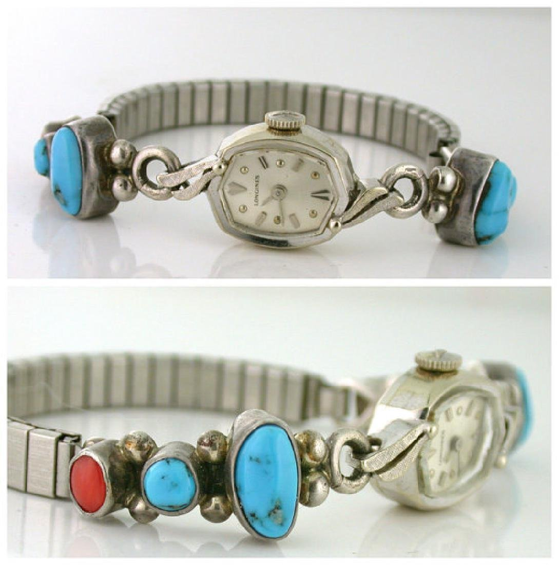 Signed Longines Turquoise Coral Silver Watch