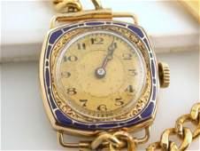 Welta Swiss Fque Ladies Wadsworth 14K Gold Enamel Watch