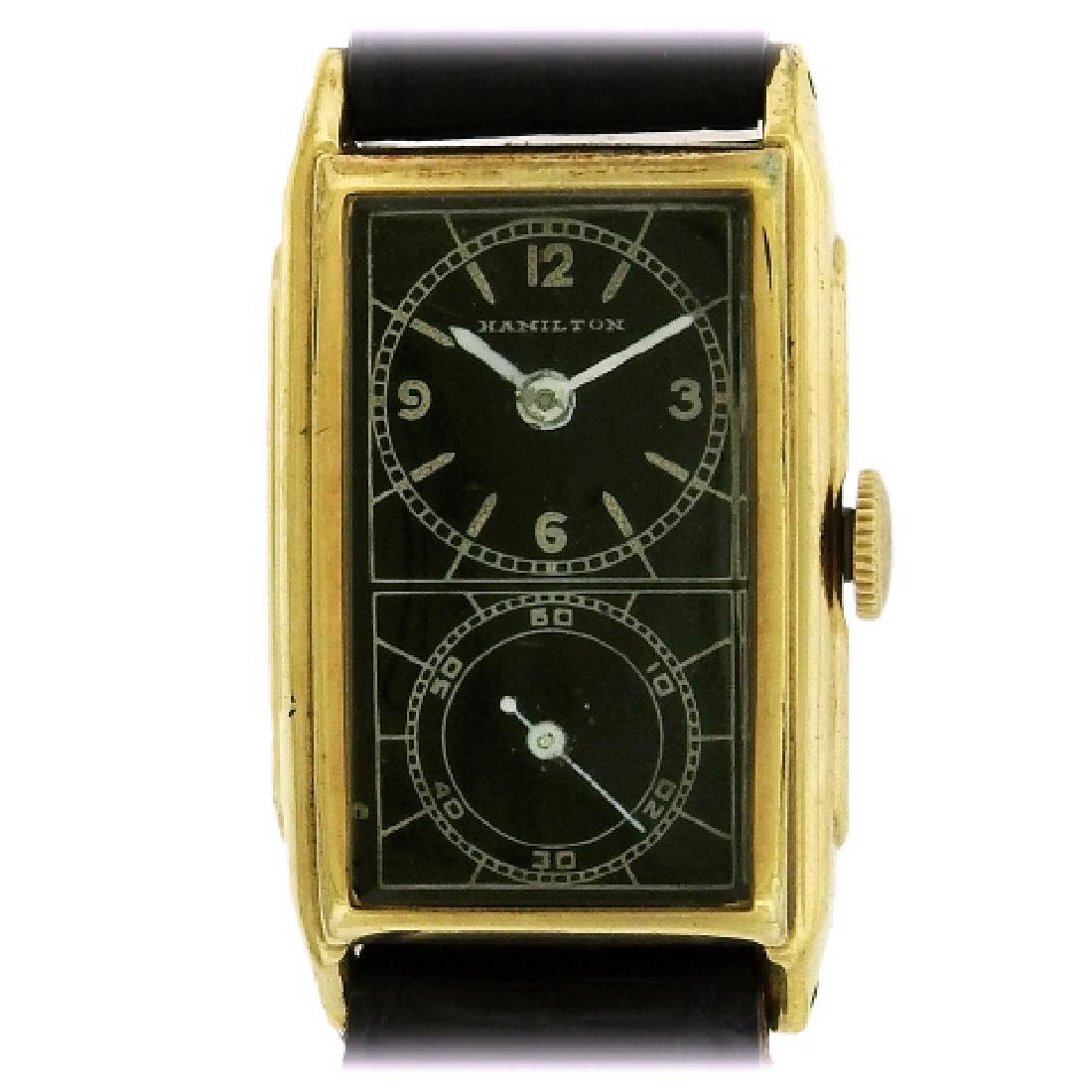 Hamilton Yellow Gold Black Dial Doctor's Watch