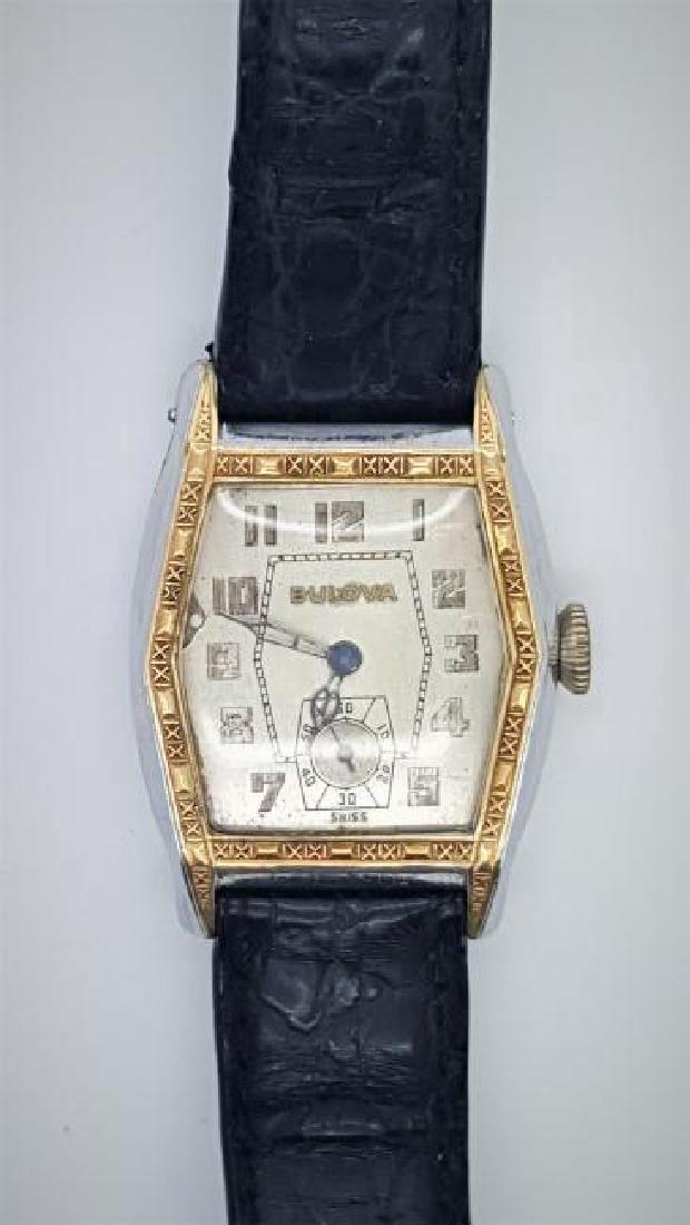 Vintage Bulova 10K Gold Art Deco Men's Watch