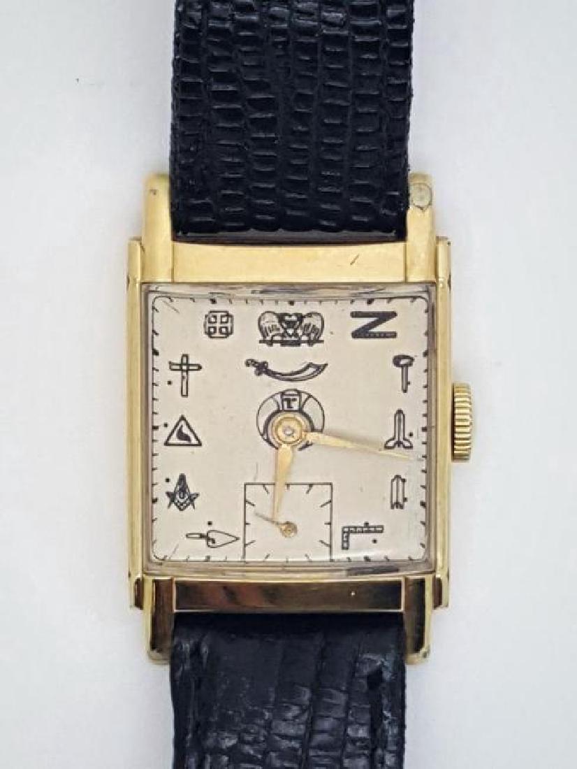 Vintage Masonic Symbol Men's 14K Gold Filled Watch