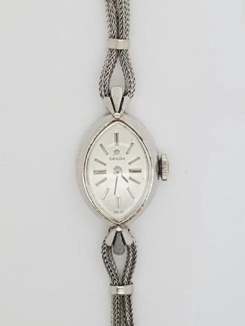 Vintage Omega Swiss 10K White Gold Ladies Watch
