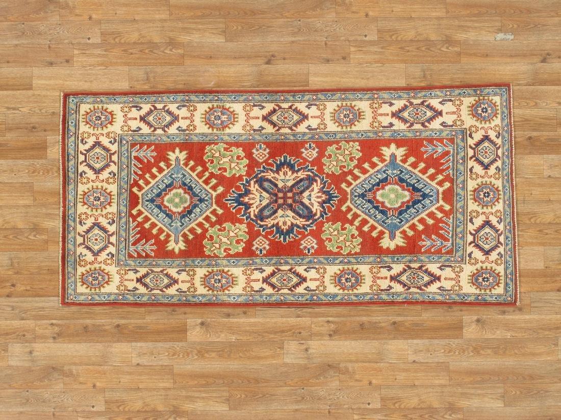 Handmade Wool Kazak Tribal Rug 2.7x5.4