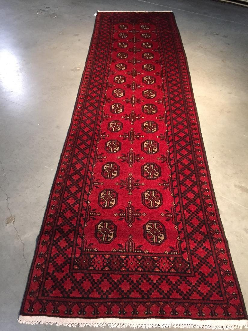 Hand Knotted Afghan Runner Rug 2.8x9.5