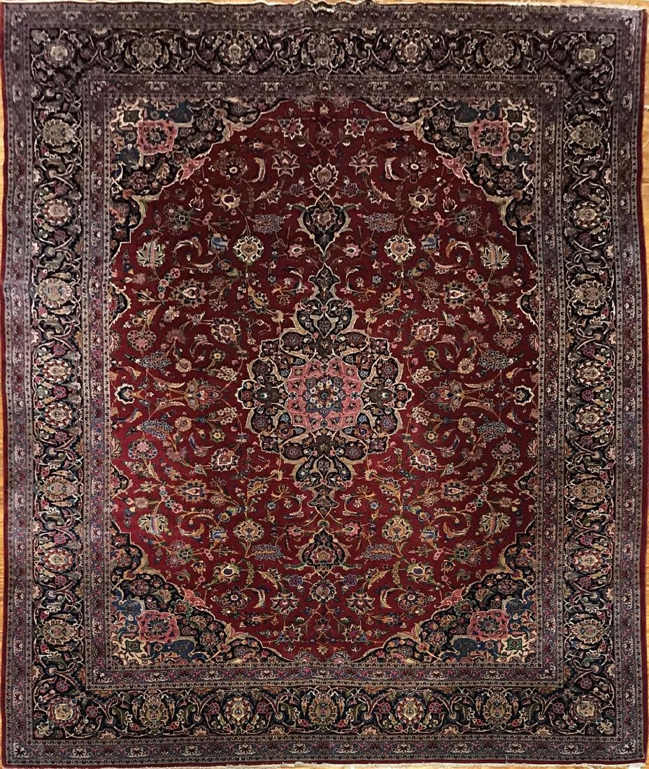 Antique Persian Kashan Rug 9x12.2