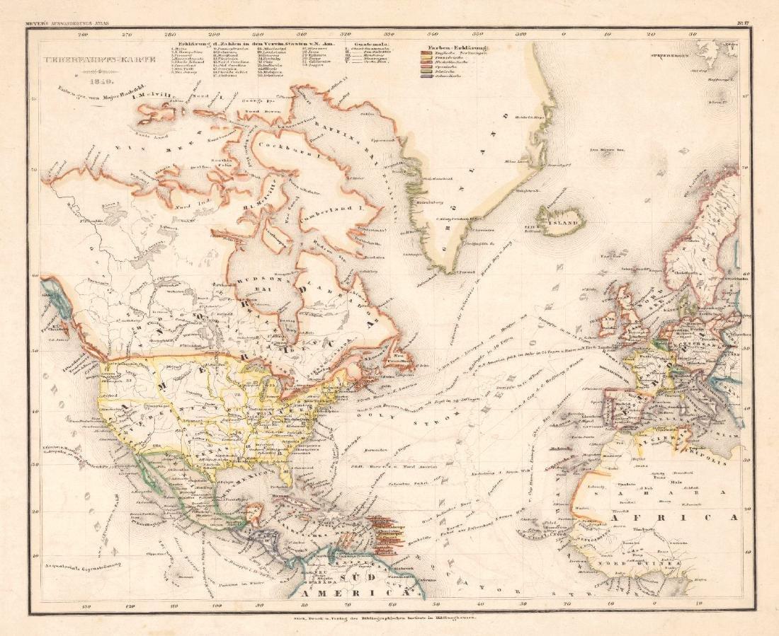 Ueberfahrts Karte Meyer's Auswanderungs-Atlas, 1849