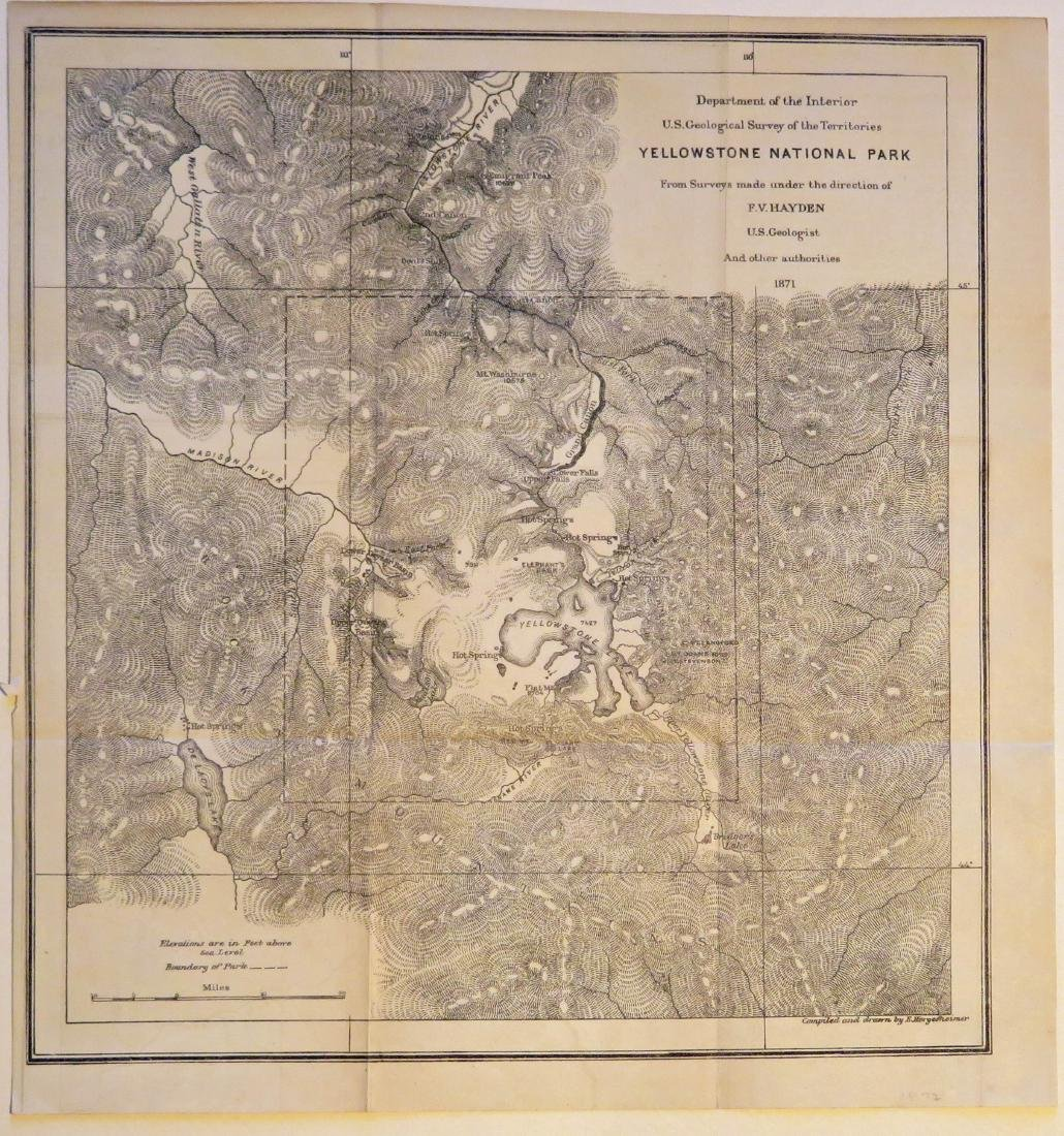 Map of Yellowstone National Park, 1871