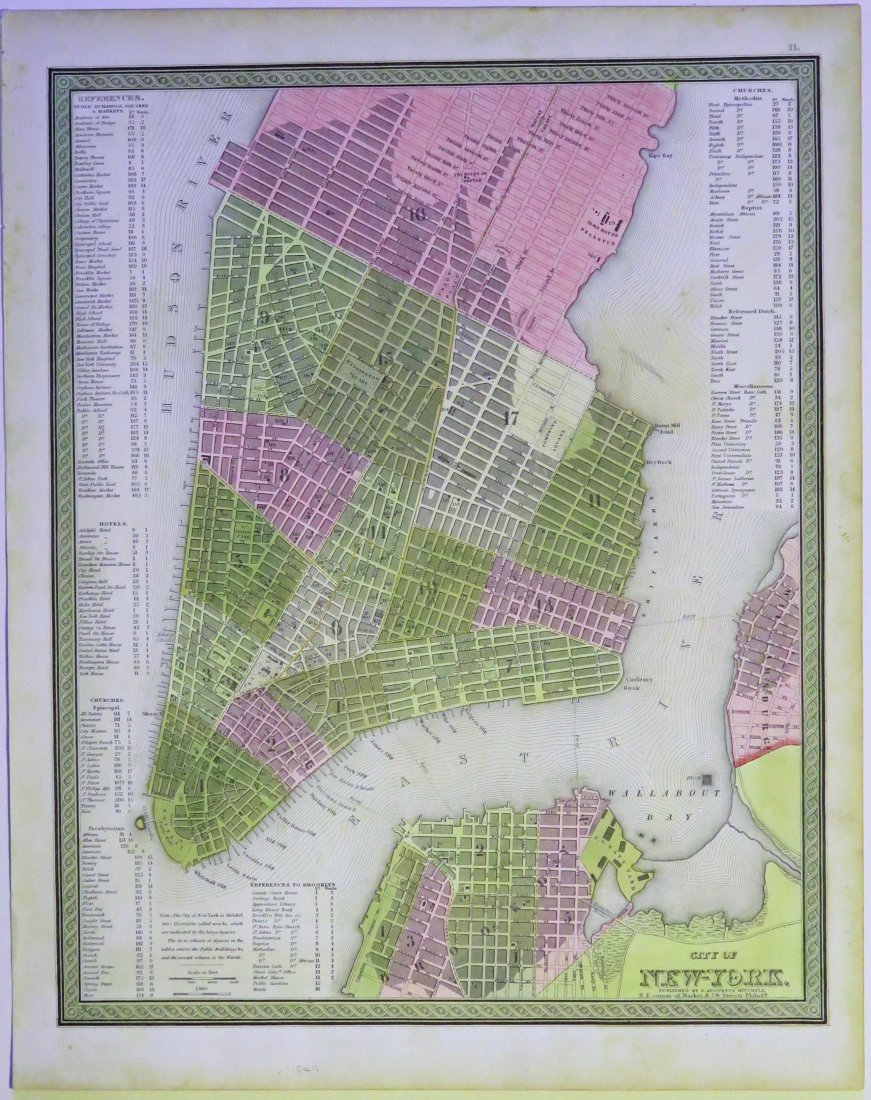 Mitchell: Map of City of New York, 1849