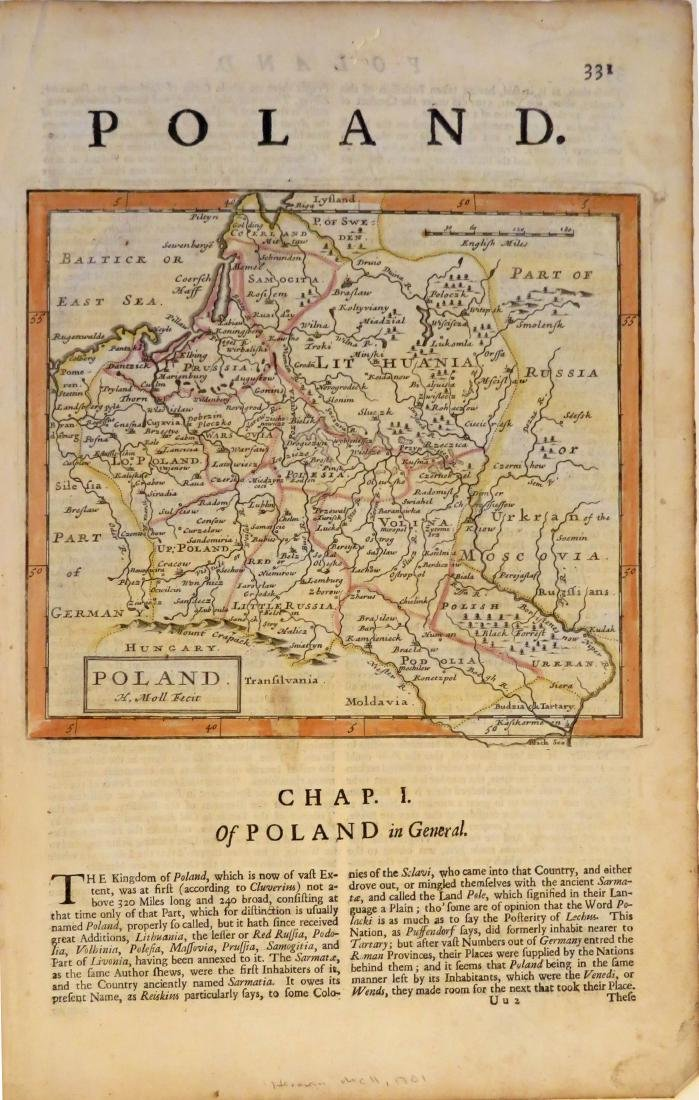 Moll: Map of Poland, 1701