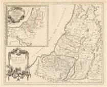 Robert de Vaugondy: Map of Judea, the Holy Land, 1657