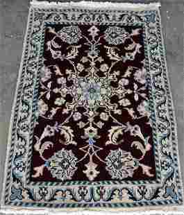 Part Silk Hand Woven Nain Rug 3x1