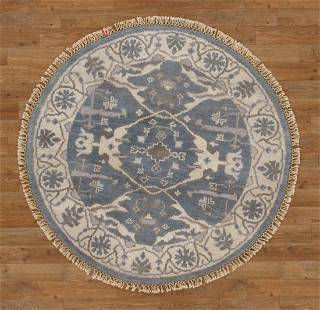 Handmade Wool Round Oushak Rug 4x4