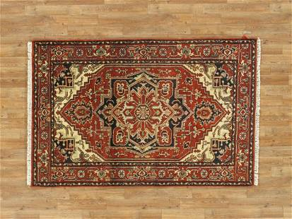 Handmade Wool Serapi Rug 4x6