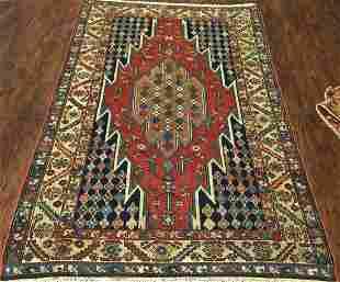 Antique Persian Kurdish Mazlaghan Rug 4x7