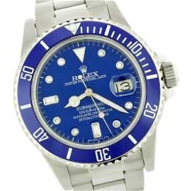 Rolex Submariner QuickSet Rotatable Blue Bezel Watch