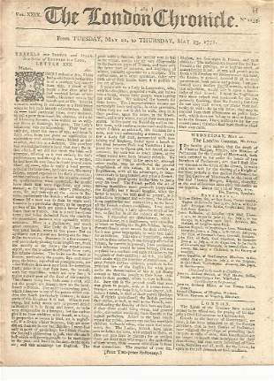 1771 Issue of The London Chronicle